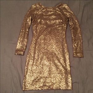 Dress the population gold sequin dress REPOSH NWOT